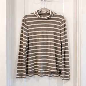 Madewell Brown and Cream Turtleneck Tee Size Large